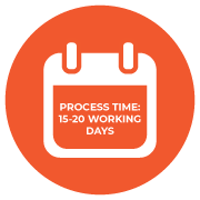 Process time: 15 - 20 working days