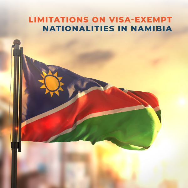 Limitations on visa exempt nationalities in Namibia