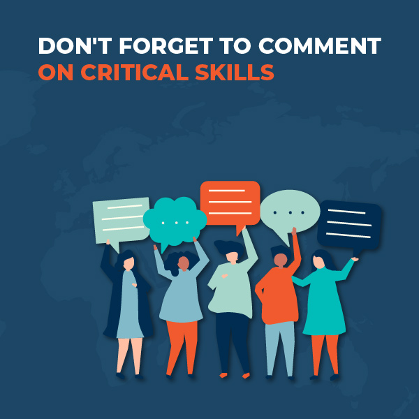 Don't Forget To Comment On Critical Skills
